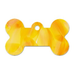 Yellow Pattern Painting Dog Tag Bone (two Sides)