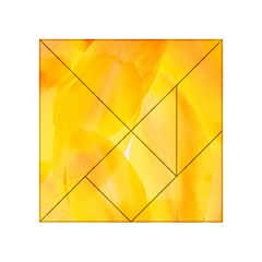 Yellow Pattern Painting Acrylic Tangram Puzzle (4  X 4 )