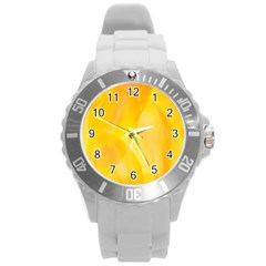 Yellow Pattern Painting Round Plastic Sport Watch (l)