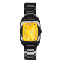 Yellow Pattern Painting Stainless Steel Barrel Watch