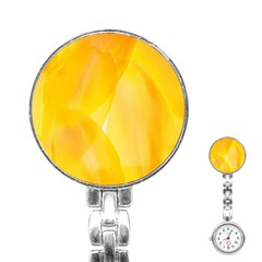 Yellow Pattern Painting Stainless Steel Nurses Watch