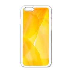 Yellow Pattern Painting Apple Iphone 6/6s White Enamel Case