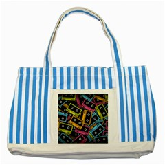 Type Pattern Striped Blue Tote Bag