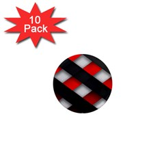 Red Textured 1  Mini Magnet (10 Pack)