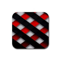 Red Textured Rubber Square Coaster (4 Pack)