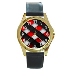 Red Textured Round Gold Metal Watch