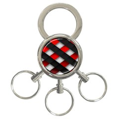 Red Textured 3 Ring Key Chains