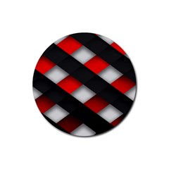Red Textured Rubber Round Coaster (4 Pack)