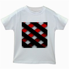 Red Textured Kids White T-Shirts