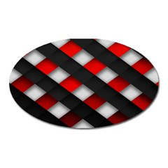 Red Textured Oval Magnet