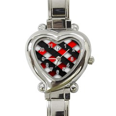 Red Textured Heart Italian Charm Watch