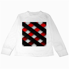 Red Textured Kids Long Sleeve T Shirts