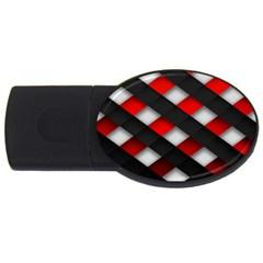 Red Textured Usb Flash Drive Oval (4 Gb)