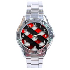 Red Textured Stainless Steel Analogue Watch