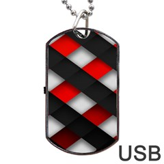 Red Textured Dog Tag Usb Flash (one Side)