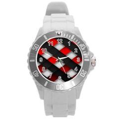 Red Textured Round Plastic Sport Watch (l)