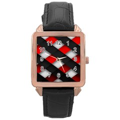 Red Textured Rose Gold Leather Watch