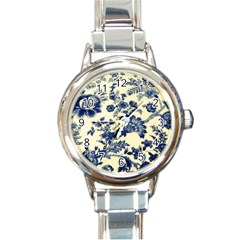 Vintage Blue Drawings On Fabric Round Italian Charm Watch