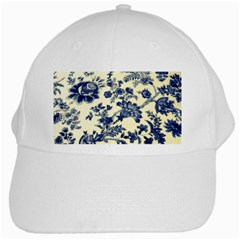 Vintage Blue Drawings On Fabric White Cap