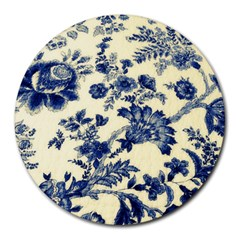 Vintage Blue Drawings On Fabric Round Mousepads