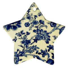 Vintage Blue Drawings On Fabric Ornament (star)