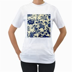 Vintage Blue Drawings On Fabric Women s T Shirt (white) (two Sided)