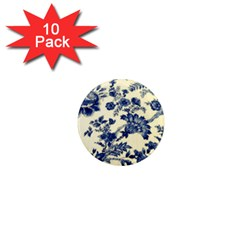 Vintage Blue Drawings On Fabric 1  Mini Magnet (10 Pack)