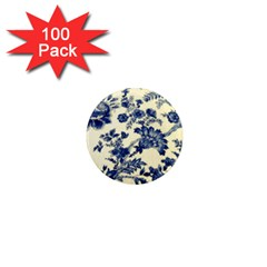 Vintage Blue Drawings On Fabric 1  Mini Magnets (100 Pack)