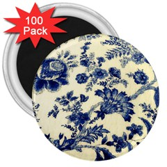 Vintage Blue Drawings On Fabric 3  Magnets (100 Pack)