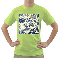 Vintage Blue Drawings On Fabric Green T Shirt
