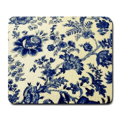 Vintage Blue Drawings On Fabric Large Mousepads