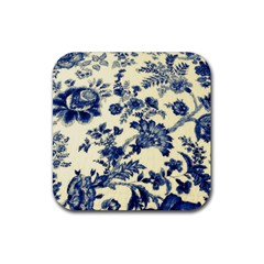 Vintage Blue Drawings On Fabric Rubber Square Coaster (4 Pack)