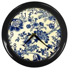 Vintage Blue Drawings On Fabric Wall Clocks (Black)