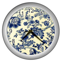 Vintage Blue Drawings On Fabric Wall Clocks (silver)