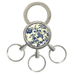 Vintage Blue Drawings On Fabric 3-Ring Key Chains
