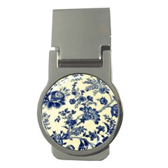 Vintage Blue Drawings On Fabric Money Clips (round)