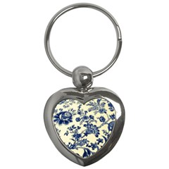 Vintage Blue Drawings On Fabric Key Chains (heart)
