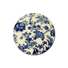 Vintage Blue Drawings On Fabric Rubber Round Coaster (4 Pack)