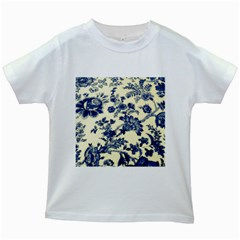 Vintage Blue Drawings On Fabric Kids White T-Shirts