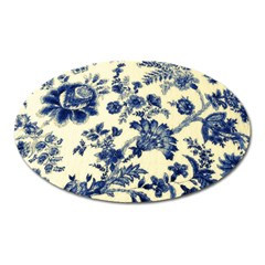 Vintage Blue Drawings On Fabric Oval Magnet