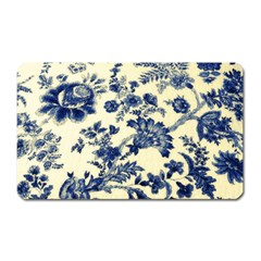Vintage Blue Drawings On Fabric Magnet (rectangular)