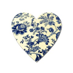 Vintage Blue Drawings On Fabric Heart Magnet