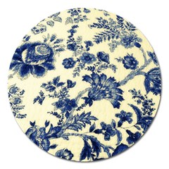 Vintage Blue Drawings On Fabric Magnet 5  (round)