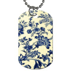 Vintage Blue Drawings On Fabric Dog Tag (two Sides)