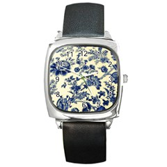Vintage Blue Drawings On Fabric Square Metal Watch