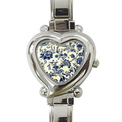 Vintage Blue Drawings On Fabric Heart Italian Charm Watch