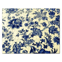 Vintage Blue Drawings On Fabric Rectangular Jigsaw Puzzl