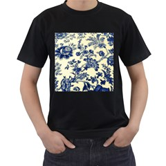 Vintage Blue Drawings On Fabric Men s T Shirt (black) (two Sided)