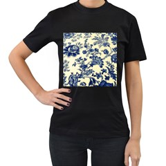 Vintage Blue Drawings On Fabric Women s T Shirt (black) (two Sided)