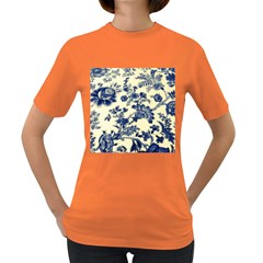 Vintage Blue Drawings On Fabric Women s Dark T Shirt